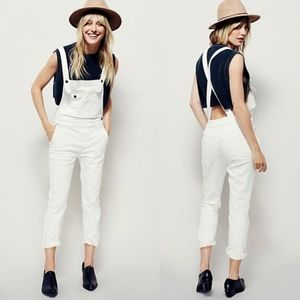 Free people white wash overalls ivory denim overal